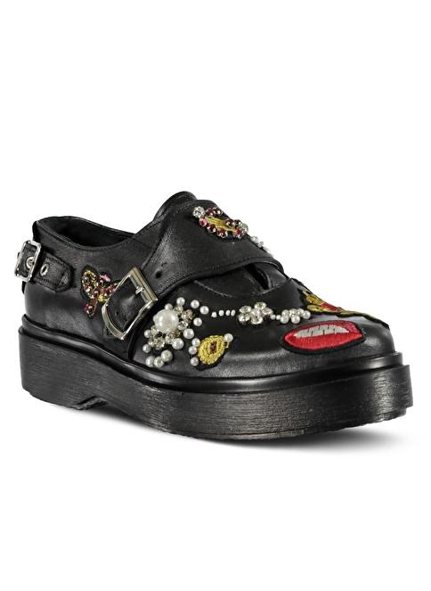 Marjin % 100 Deri Topuklu Ayakkabı Siyah